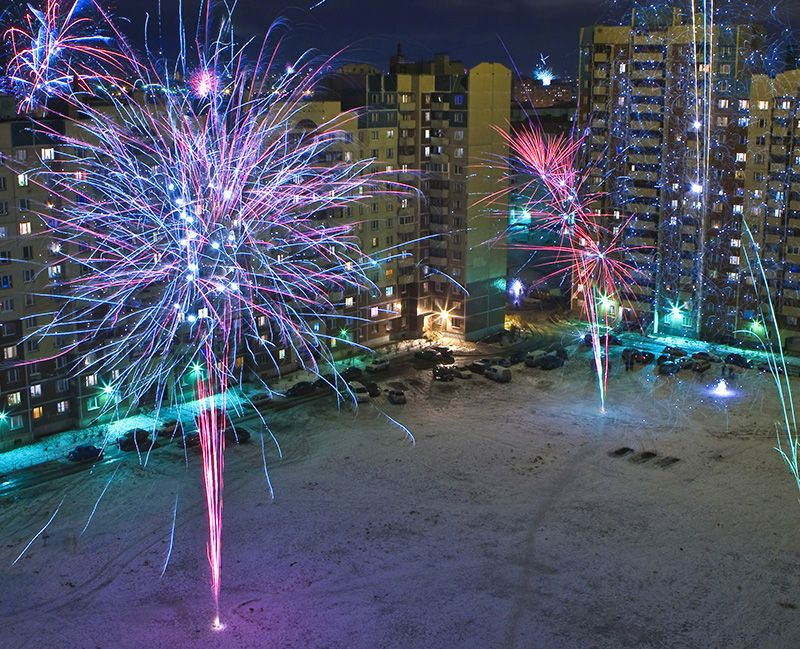 новогодних фейерверков