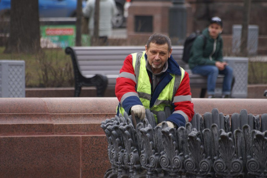 """уборка Москвы""""Пушкинский"""" фонтан. Профилактические работы."""