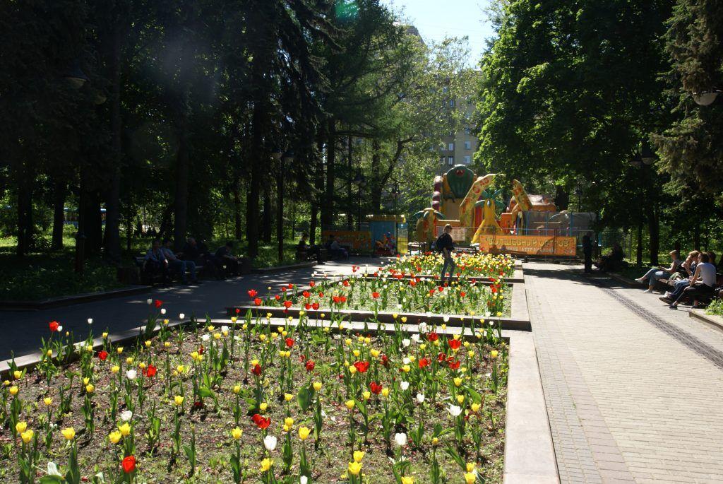 цветы весна в Москве украшение Москвы детская площадка