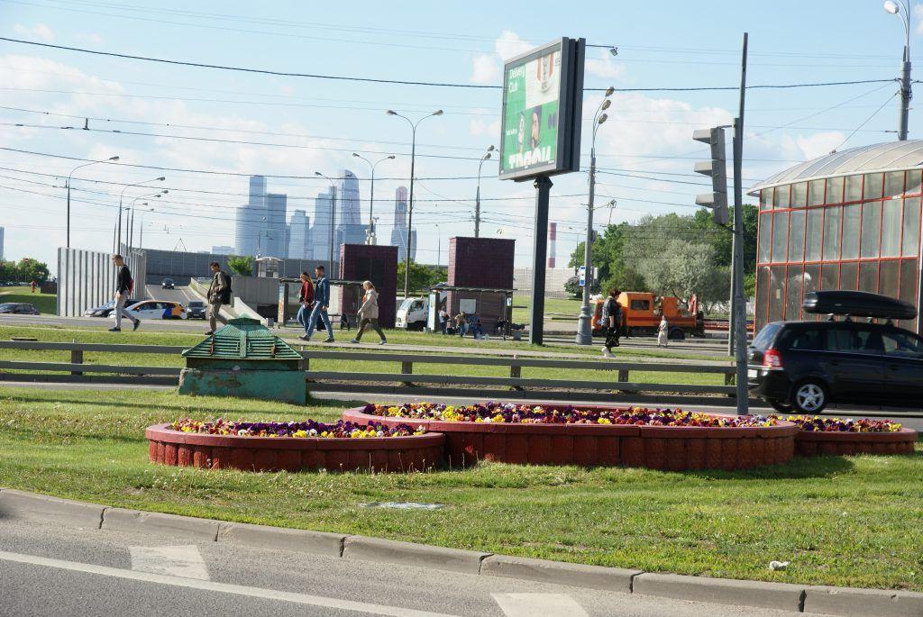 цветы весна в Москве украшение Москвы Москва-Сити