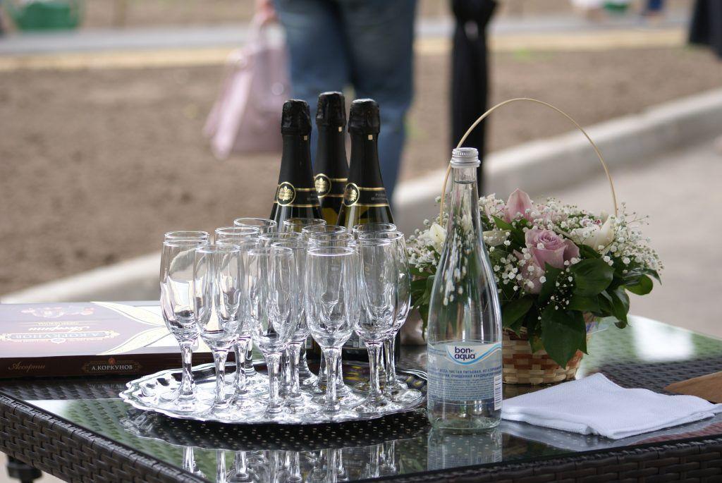 высадка деревьев сад молодоженов ВДНХ шампанское бокалы