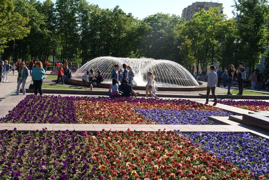 цветы весна в Москве украшение Москвы фонтан
