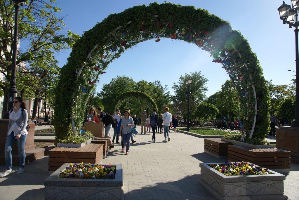цветы весна в Москве украшение Москвы арка