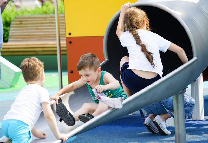 дети, горка, детская площадка