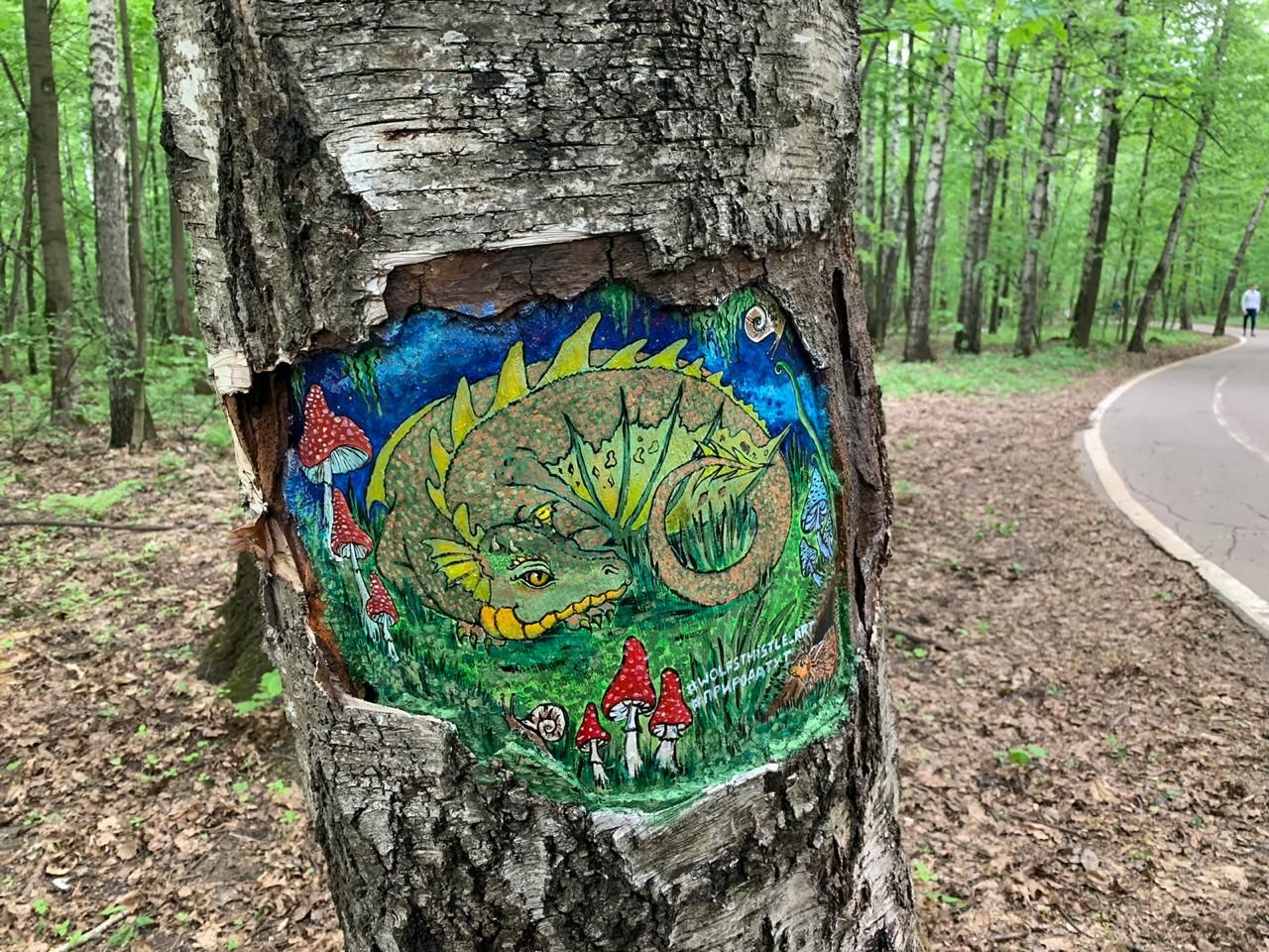 рисунки на деревьях, дракон