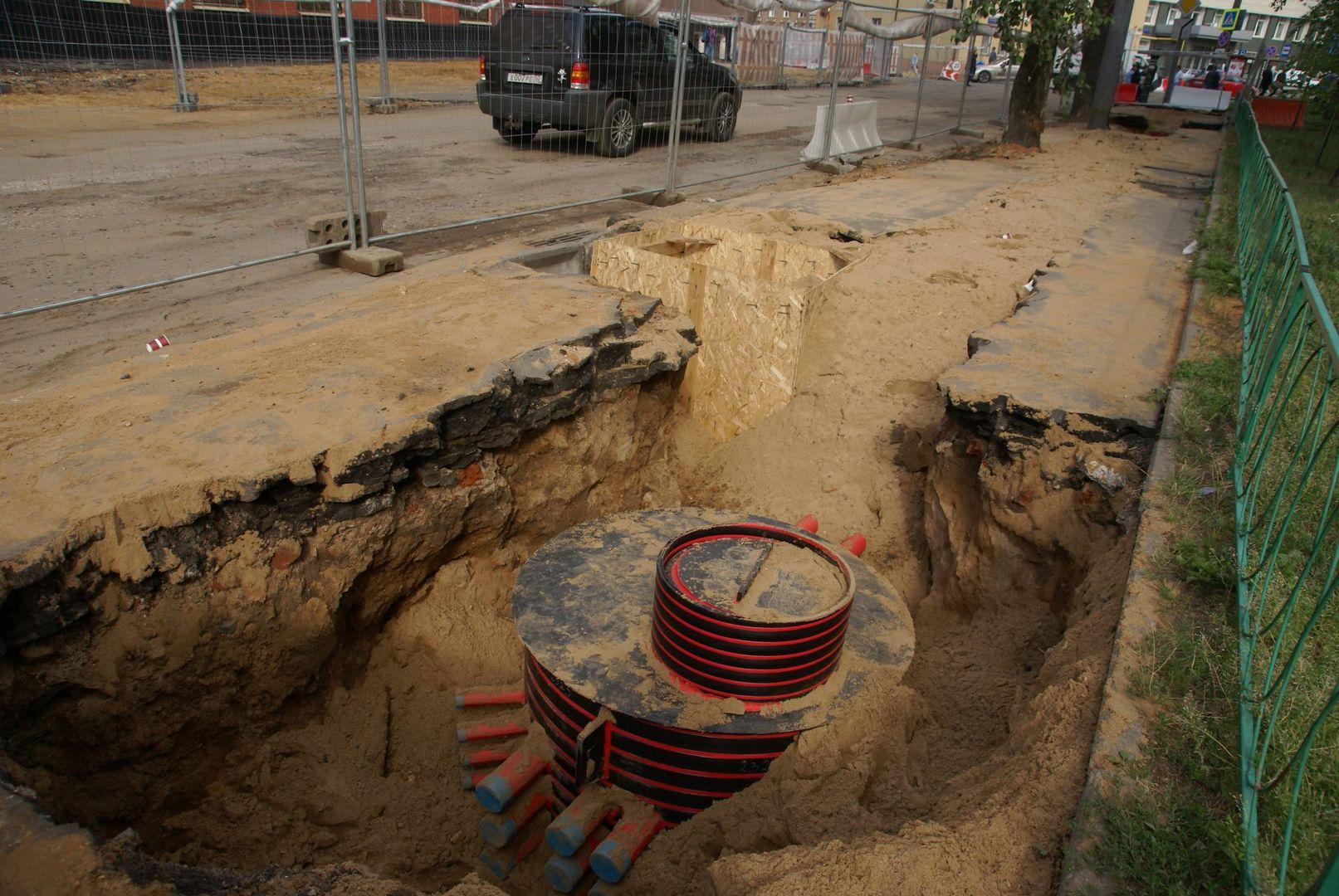 стройплощадка, кабель, кабельная канализация, траншея, люк