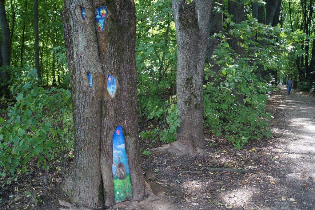 Кусковский лесопарк, Кусково, деревья, рисунки на деревьях