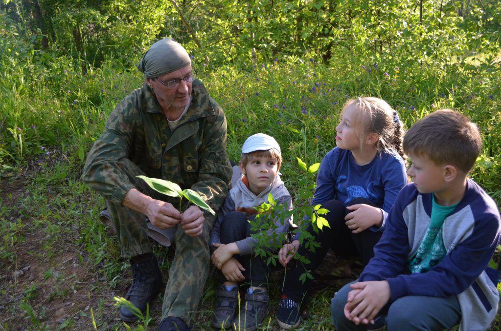 лес дети цветы растения деревья