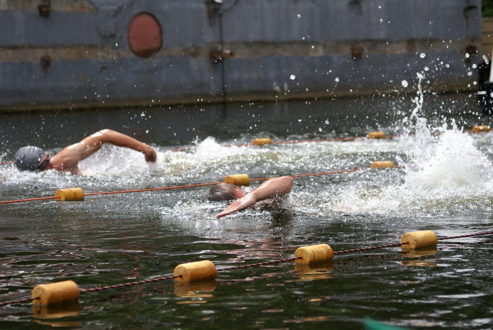 заплыв, ныряют, пловцы