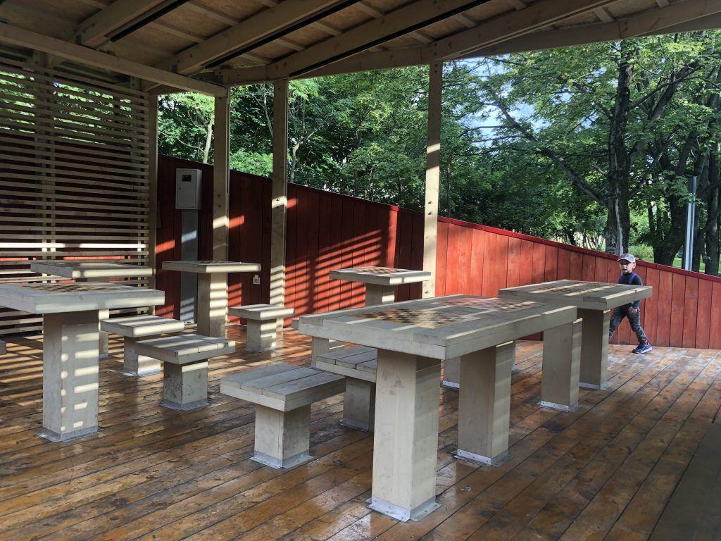 парк Красная пресня продолжение Красногвардейские пруды Шахматные столы
