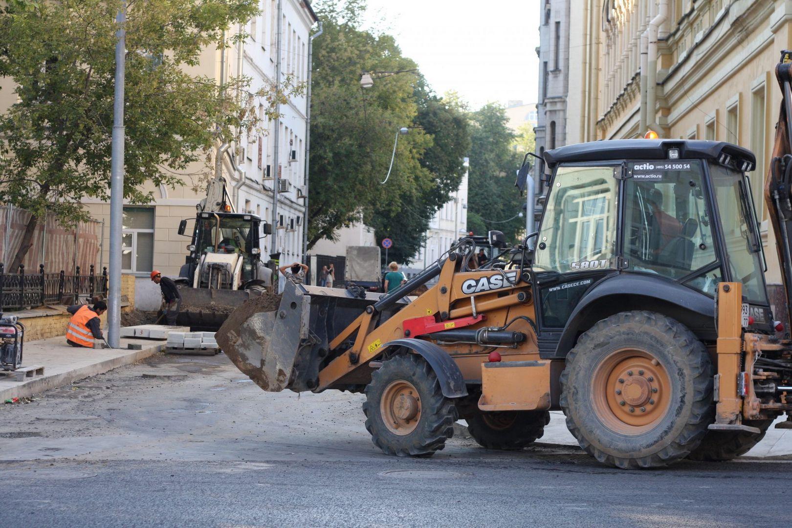 улица Остоженка, ремонт дорог, асфальт, плитка