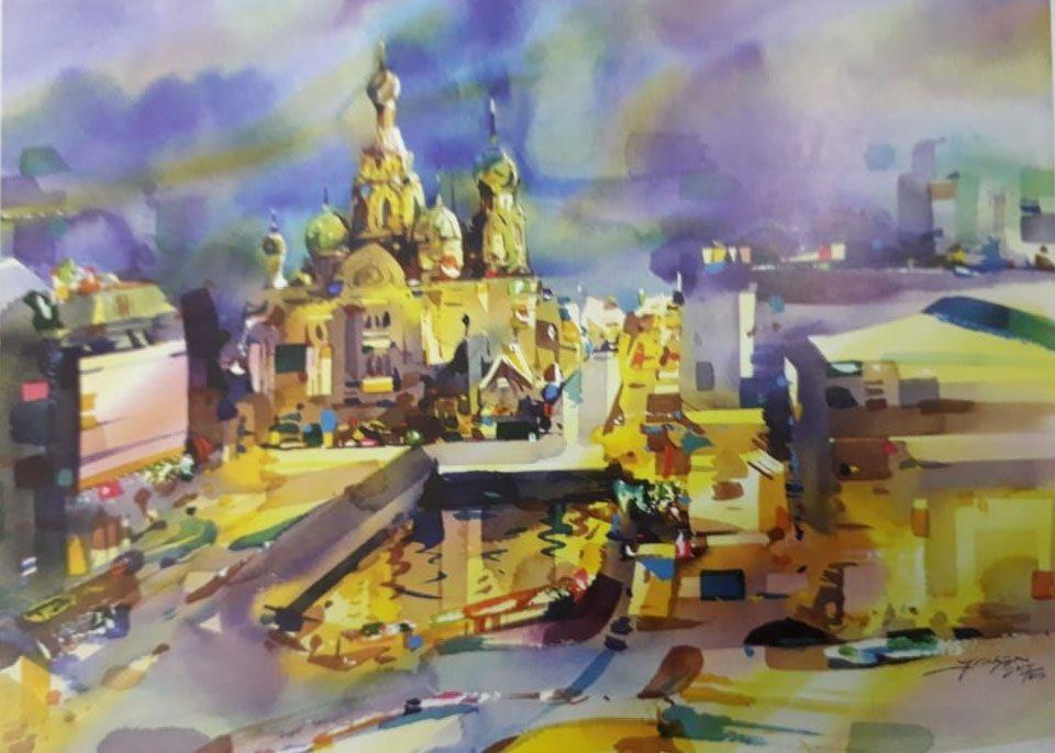 репродукция картины,арт-фестиваль, ГУП «Москоллектор», художники, выставка, Мир высокой акварели