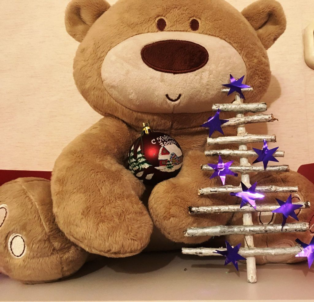 поделки на новый год, елка, мишка, звездочки