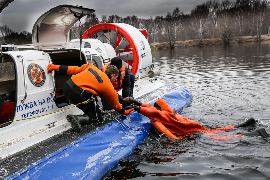спасатели, лед, зима в Москве