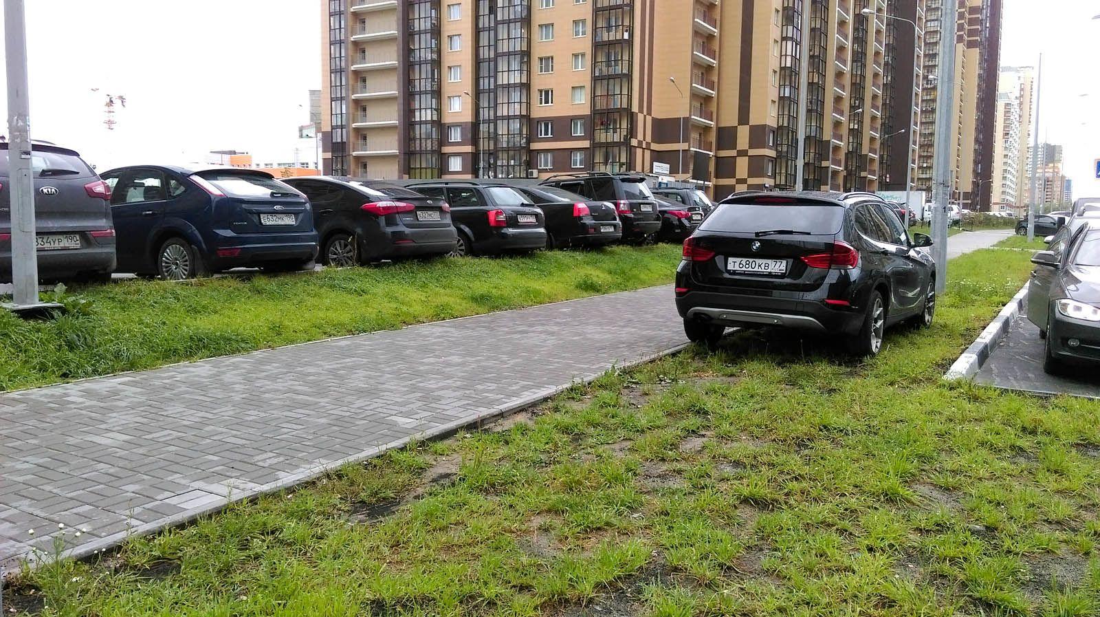 парковка, газон