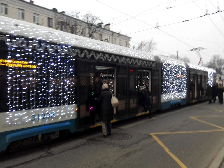 украшение Москвы, новый год, праздник, трамвай