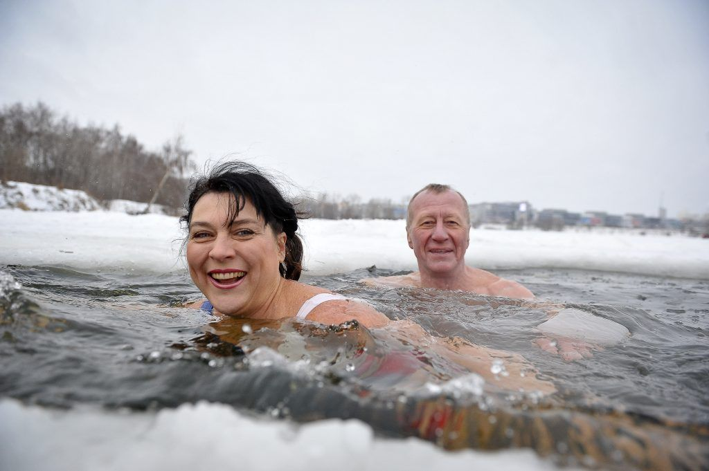 купание, морж