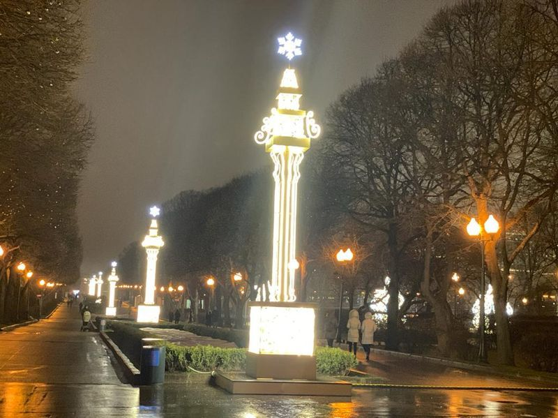 парк Горького, фонари, лужи