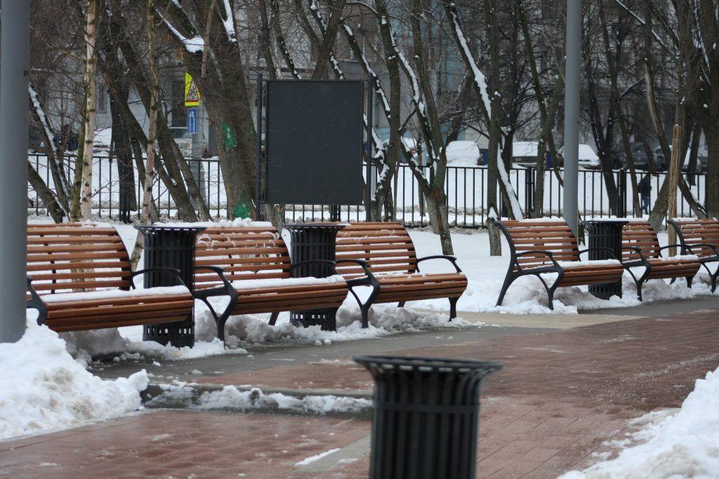 сквер, зима, площадка
