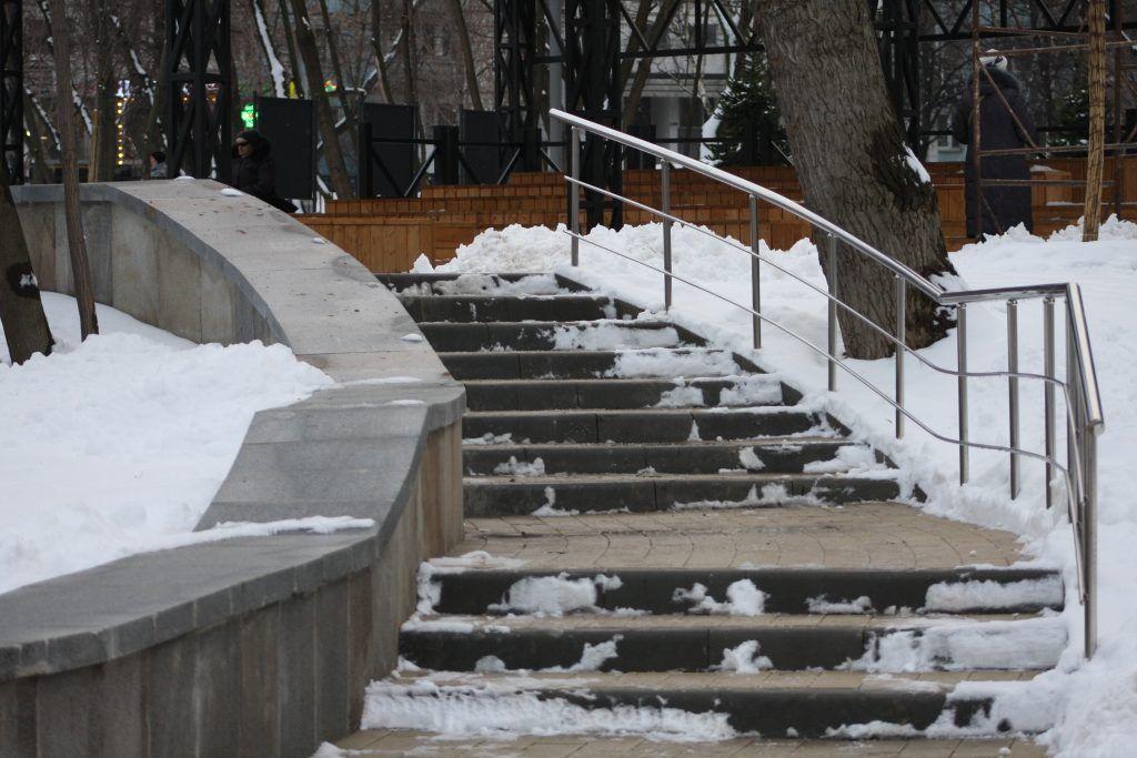 сквер, зима, лестница