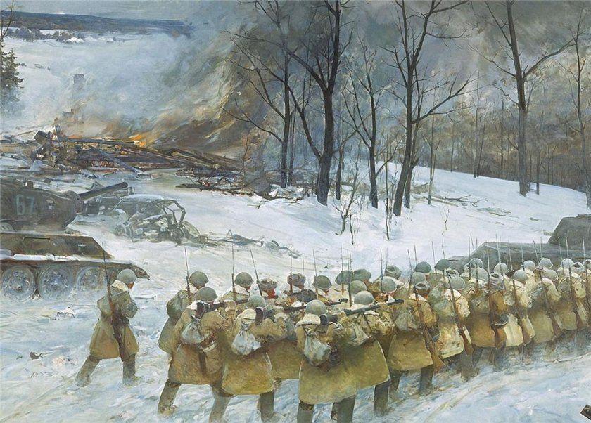 Фрагмент диорамы контрнаступление советских войск под Москвой в декабре 1941 года.