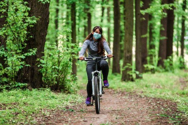 велосипед, маска, парк