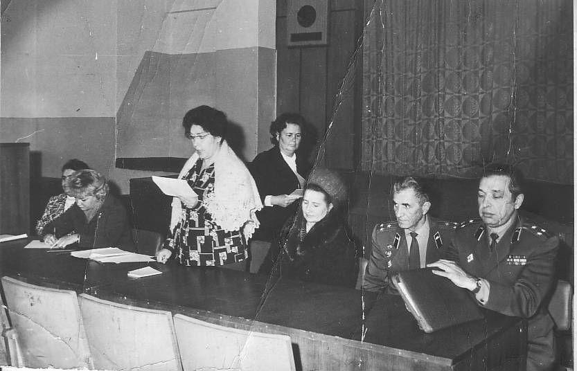 С. А. Бельский на профсоюзном собрании на 37 ВЦОК ГО СССР, 1977 г