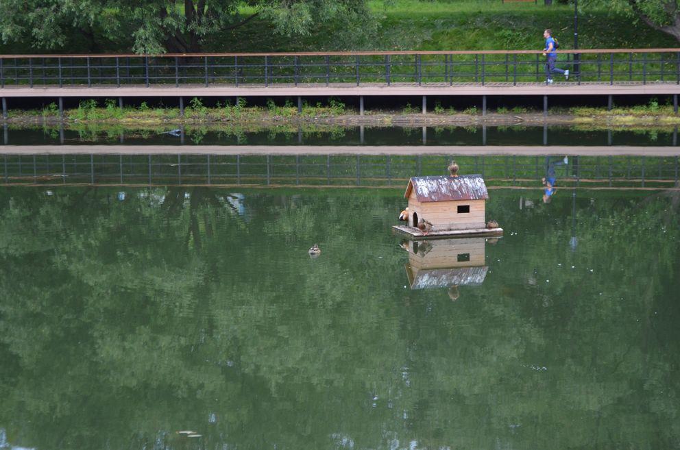 Вид на Черкизовский обновленный пруд со стороны храма Ильи Пророка