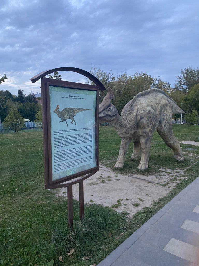 Информация об эласмотерии в Академическом парке и массивная фигура животного