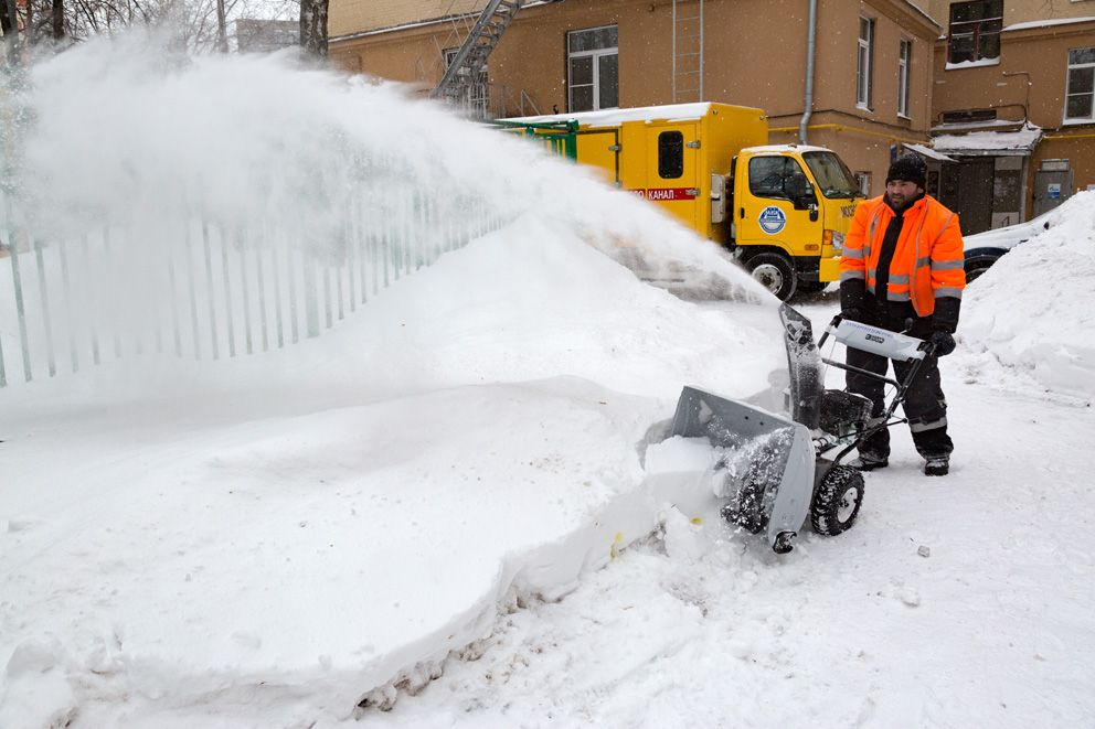 уборка снега, трактор, зима