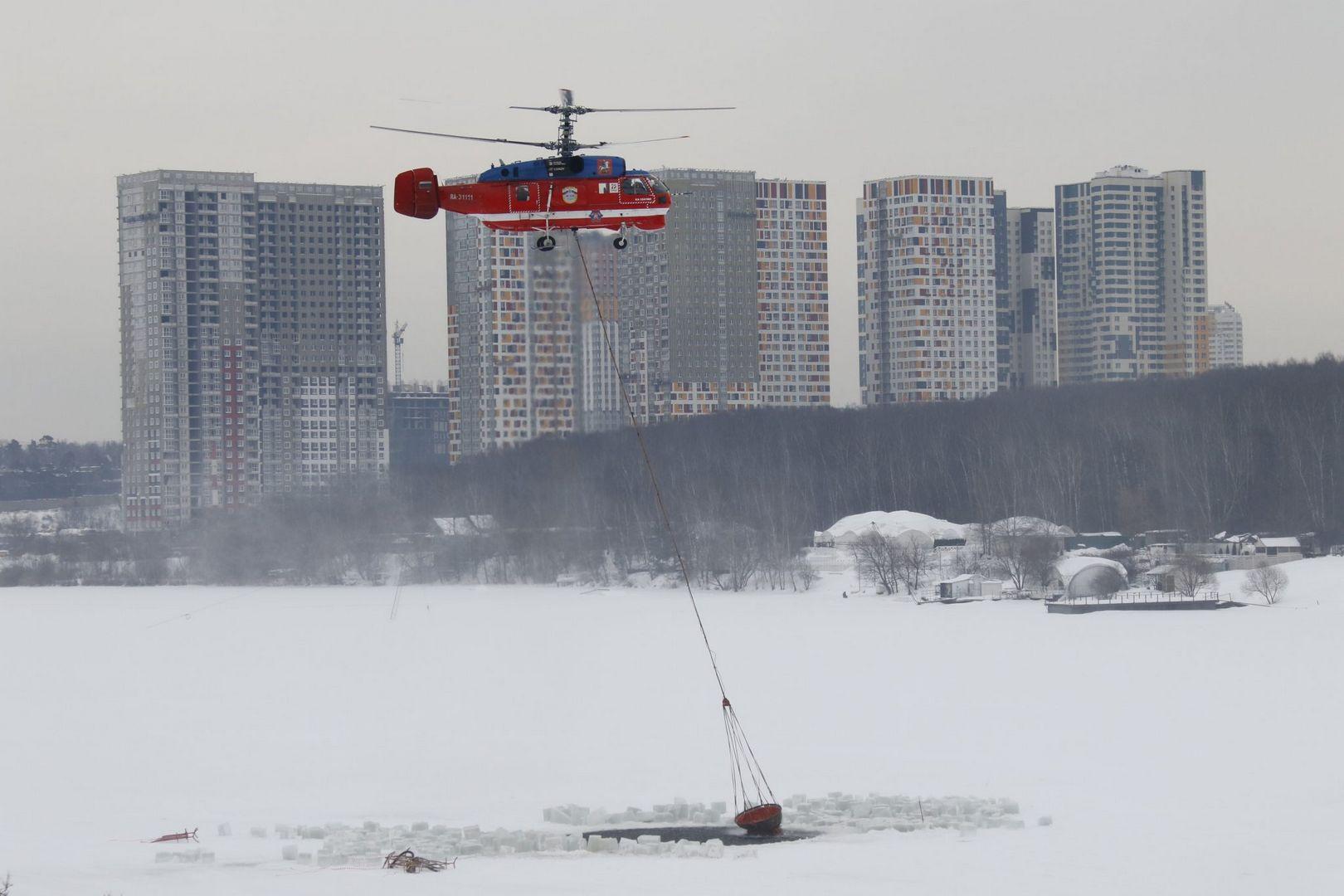 вертолет, Мац, зима, прорубь