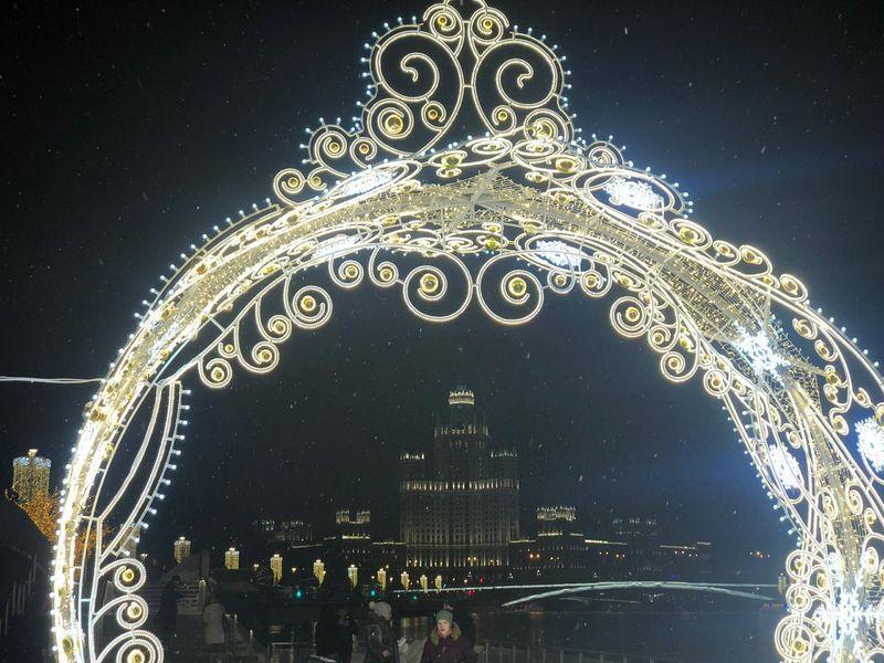украшение Москвы, Новый год, зима в Москве, ночь