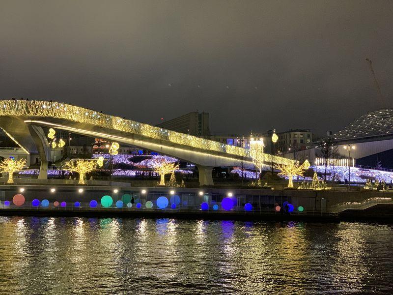 мост, Зарядье, Москва-река, подсветка, Новый год