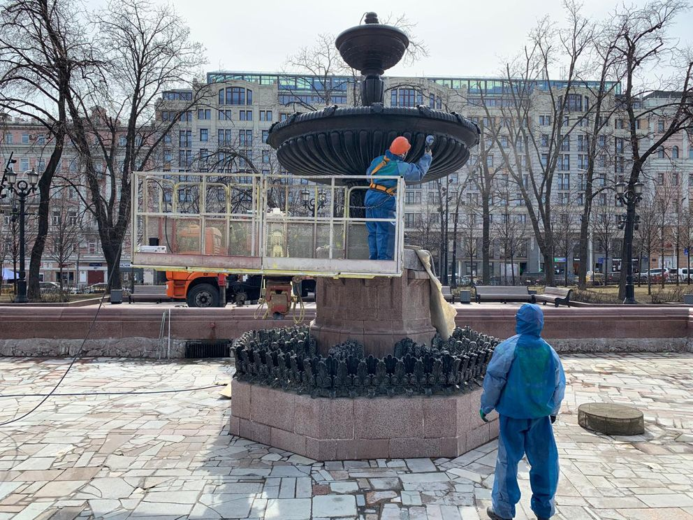 Пушкинский фонтан, покраска, ГБУ Гормост