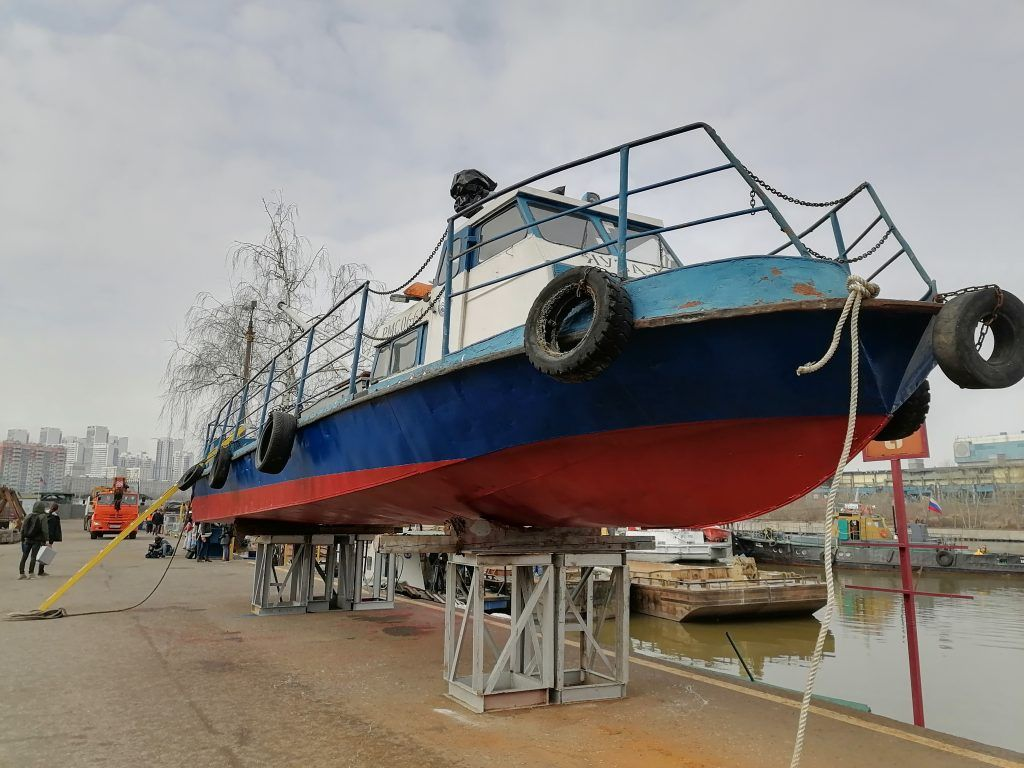 Навигация, Мосводосток, катер, судно, мусоросборщик, кран, река