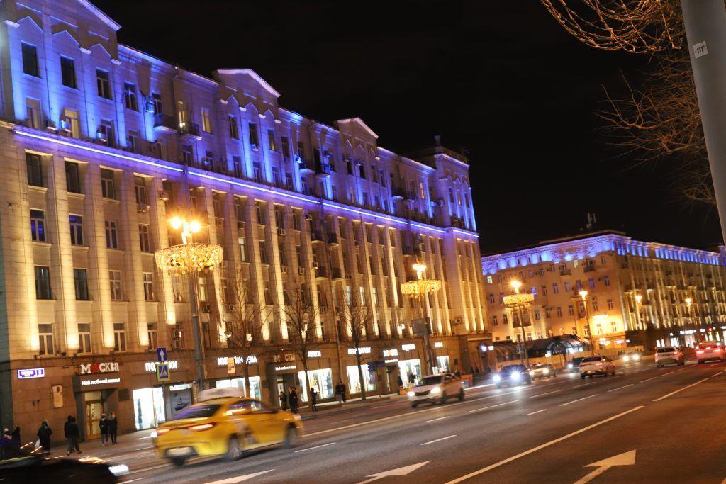 архитектурно-художественная подсветка, зажги синим, Тверская