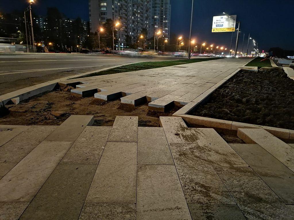 благоустройство Москвы, ремонт тротуаров, Ленинский проспект