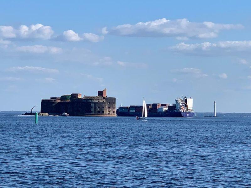 форт Константин, Кронштадт, парус, море, Финский залив