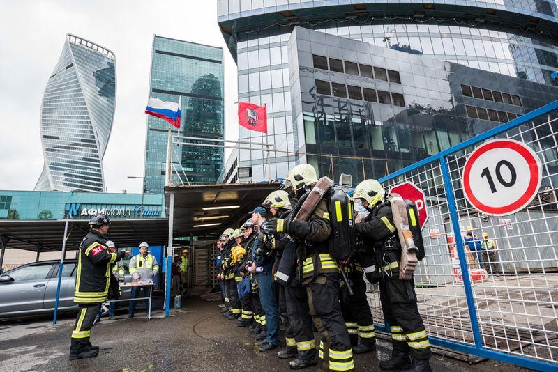 Москва-Сити, учения, пожарные