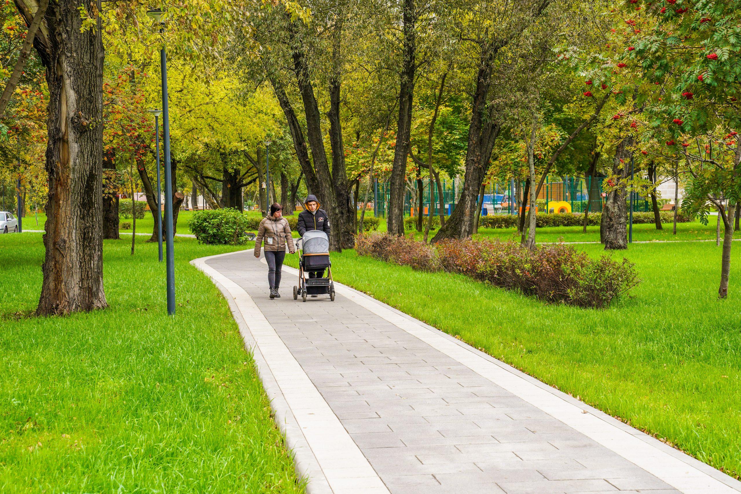парк Карачарово, дорожка, благоустройство, коляска