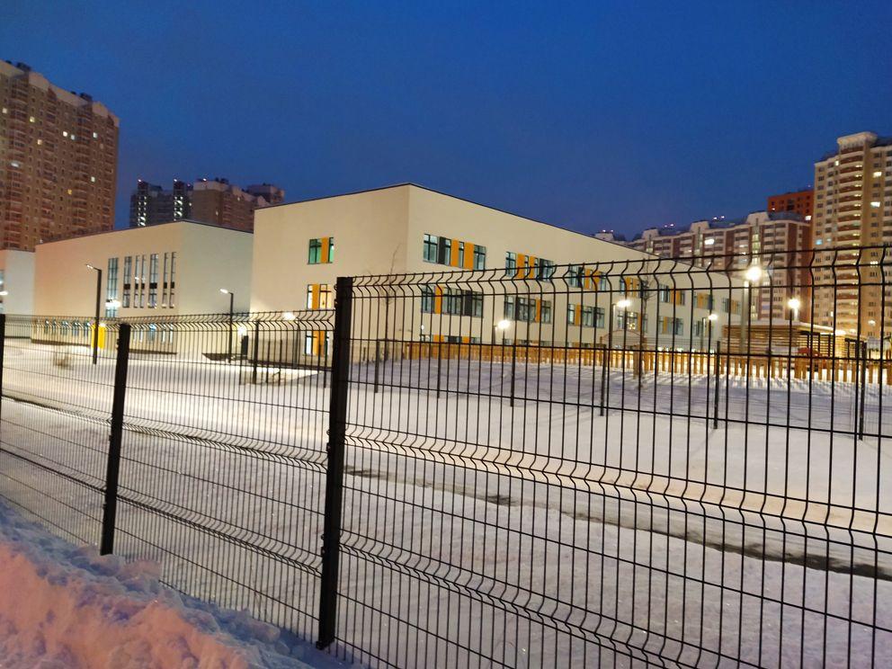 зима, фонари, школа