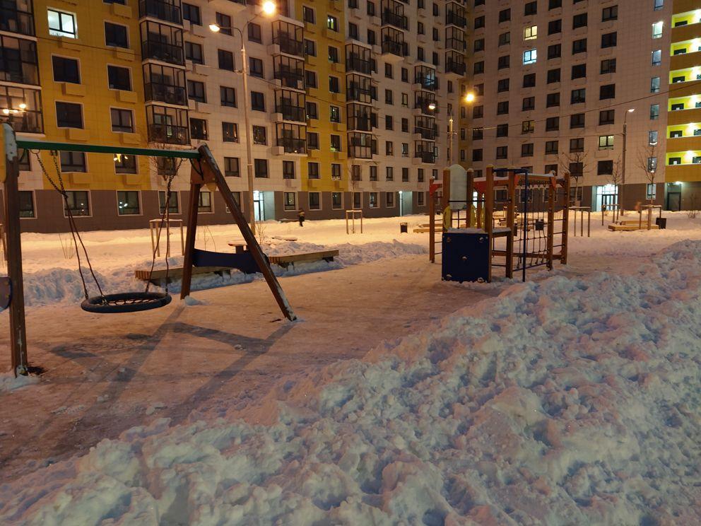 зима, детская площадка, дорога, снег